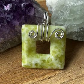 Butter Jade Square Donut Silver Wire Wrapped Pendant